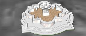 喷泉景观SU模型 skp