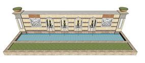 喷泉景墙SU模型 skp