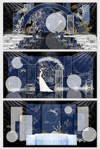 深蓝色中式婚礼背景效果图
