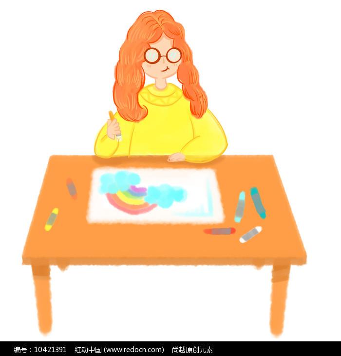 手绘创意画画的人物美术兴趣班招生元素图片
