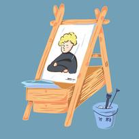 手绘创意绘画板美术艺术培训班元素