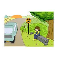 原创手绘创意等公交车的女孩插画