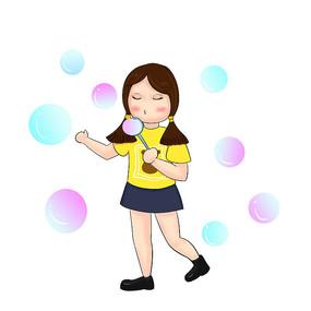 原创手绘吹泡泡女孩幼儿园儿童节元素