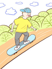 原创手绘玩滑板的男生运动健身元素