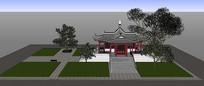 中式亭院SU模型
