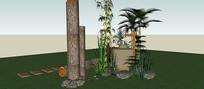 竹子景观户外喷泉SU模型 skp
