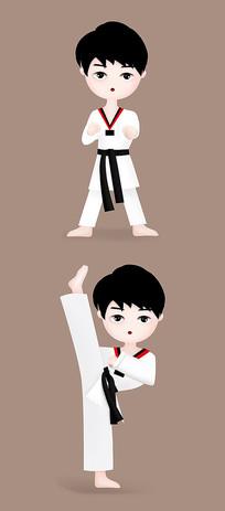 黑带跆拳道人物卡通