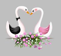 结婚亲嘴卡通天鹅