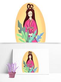 七月七情人节织女手绘卡通古美女素材