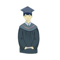 手绘毕业季穿学士服男孩校园培训班元素