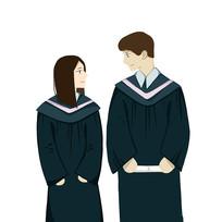 手绘毕业季穿学士服男女校园培训班元素
