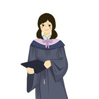 手绘毕业季穿学士服女孩校园培训班元素