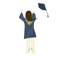手绘毕业季穿学士服跳跃女孩校园培训班元素