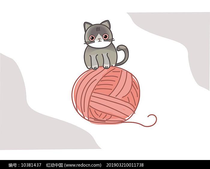 原创插画猫猫的日常ai矢量图片