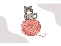 原创插画猫猫的日常ai矢量