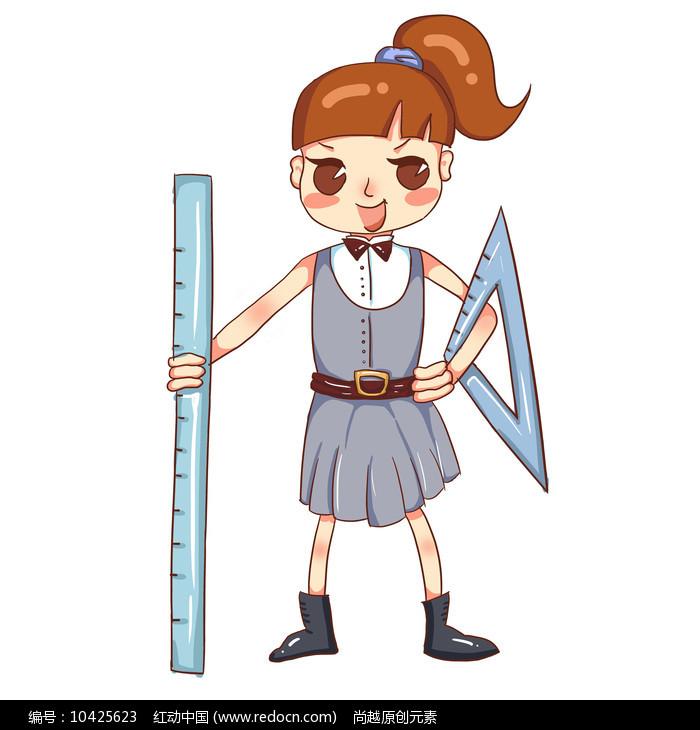原创卡通拿着直尺女孩培训班暑假班招生元素图片