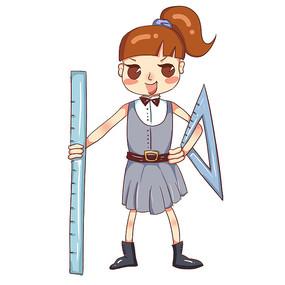 原创卡通拿着直尺女孩培训班暑假班招生元素