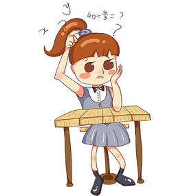 原创卡通学习中的女孩培训班暑假班招生元素
