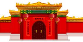 中式建筑物外观原创手绘插画