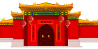 中式建筑物外觀原創手繪插畫
