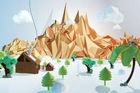 C4D低面森林小屋建模