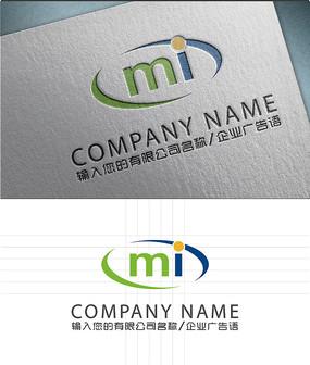 MI字母LOGO标志设计