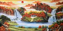 高清手绘旭日东升瀑布流水油画背景墙