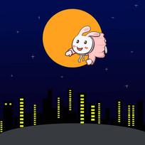 卡通可愛月兔登月傳統中秋節元素