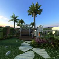 入户门庭院模型