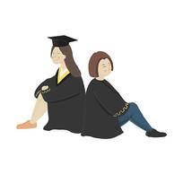 手绘创意穿学士服的学生毕业季培训班元素