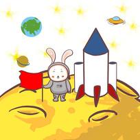 手绘创意月兔登月传统中秋节元素