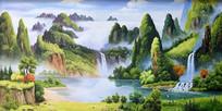 手绘公园山水风景油画背景墙