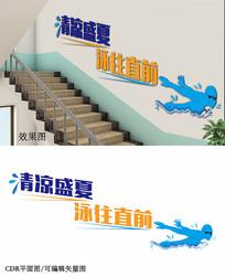 游泳馆楼梯文化墙设计