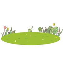 原创手绘卡通草坪幼儿园儿童节元素