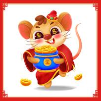 鼠年财神原创卡通
