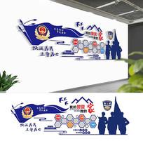 3D蓝色警营照片墙设计