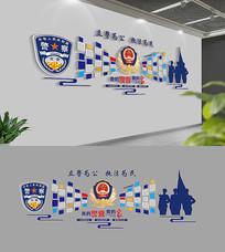 3D蓝色警营照片文化墙