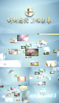 干净片头科技图文汇聚成标题视频模板