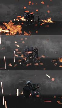 公安特警舞台MV战争场景视频模板