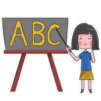 卡通可爱女孩幼儿园英语培训班辅导班元素