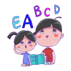 卡通男孩女孩幼儿园英语培训班辅导班元素