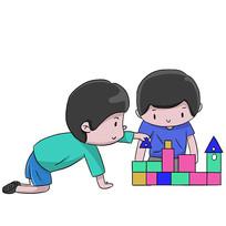 卡通男孩幼儿园英语培训班辅导班元素