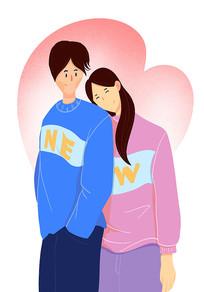 情侣插画元素