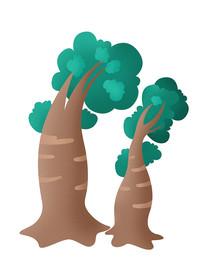 手绘卡通大树元素
