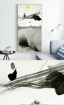 新中式禅意水墨玄关现代抽象装饰画