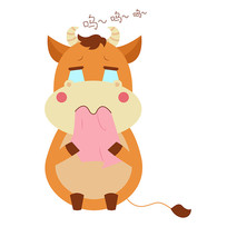 原创矢量12生肖牛表情包悲伤元素