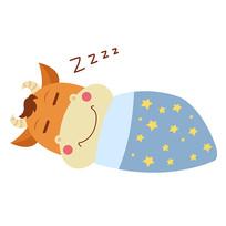 原创矢量12生肖牛表情包熟睡元素