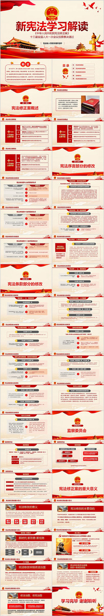 中华人民共和国宪法修正案学习新宪法PPT