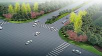 道路交叉口绿化效果图 JPG