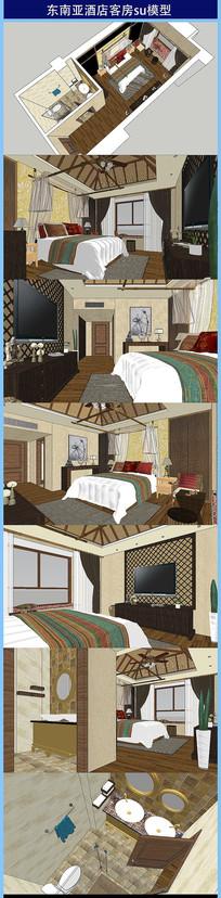 东南亚酒店客房su模型